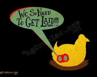 "Chicken and the Egg ""get Laid"" Art Print 7x5  By Agorables Lord of the Undead Ruler of Monsters"