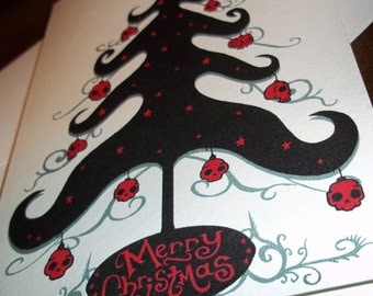 Gothic Christmas Tree with Skull Balls 5x7 Greeting Card Blank inside by Agorables Xmas