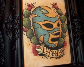Mexican Lucha Libre Traditional Tattoo Style Art Print 5x7 By Agorables Old School Wrestler in Mask