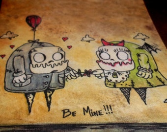 "Monster Anniversary Romantic Print ""Be Mine"" Love  5x7 Art Print by Agorables Undead Zombie  Valentine's Day"