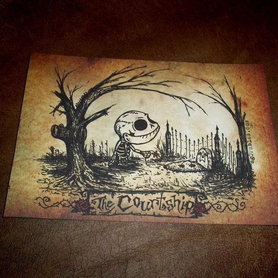 The Graveyard Courtship of a Happy little Skeleton to a Grave Art Print 7x5 By Agorables Lord of the Undead Ruler of Monsters