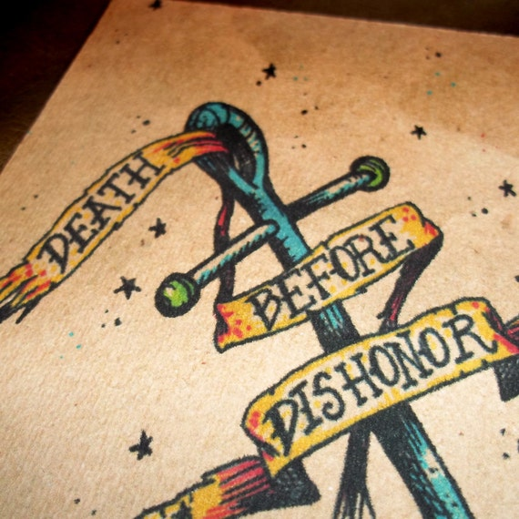 """Navy  """"Death Before Dishonor"""" Traditional Military Anchor Tattoo Art Print 7x5  By Agorables Lord of the Undead Ruler of Evil Monsters"""