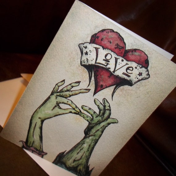 Items similar to zombie anniversary love quot the kiss card