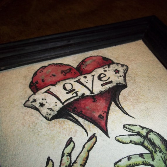 """Zombie Anniversary Romantic Print """"The Kiss"""" Love  5x7 Art Print by Agorables Undead  Valentine's Day"""