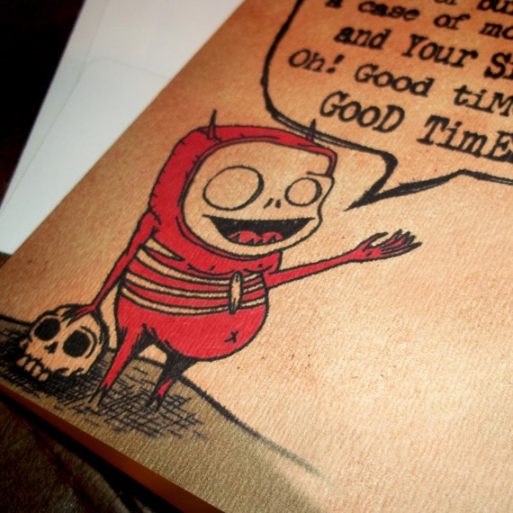 Mature Birthday Card with Evil Bragging Devil Gift  5x7 Greeting Card by Agorables Rulers of the Undead