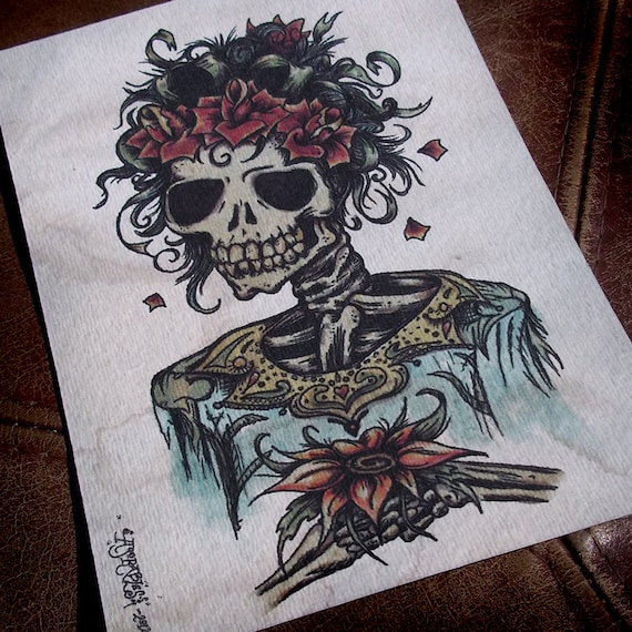 Day of the Dead Bride with Spanish Rose Traditional Tattoo Style Art Print 5x7 By Agorables Old School Skull and Flower