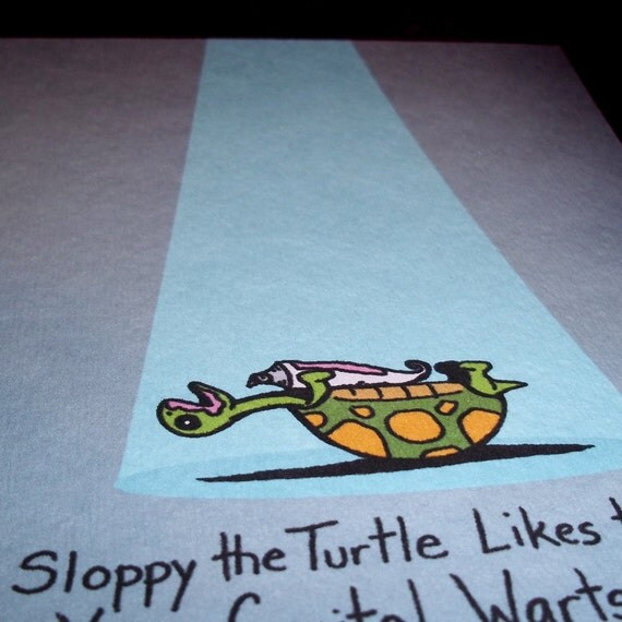 """Mature XXX Turtle in your """"cream"""" Art Print 5x7  By Agorables Lord of the S&M Vibrator Sex  Ruler of the Dildo"""