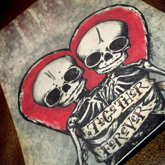 """Romantic Skeletons in Love """"Together Forever"""" Art Print 5x7 By Agorables Lord of the Undead Ruler of Monsters Conjoined Twins"""