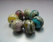 Handmade Lampwork Beads by GlassBeadArt   ...  Silvered  Mix 9 ... SRA F12  ... 9x11 -10x12mm