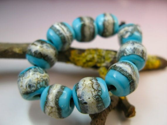 Handmade Lampwork Nugget Beads by GlassBeadArt ...  Silvered Turquoise Nuggets ... SRA F12 ... 10x10mm