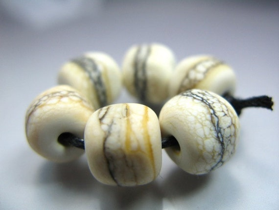 Handmade Lampwork Nugget Beads by GlassBeadArt ...  Silvered Ivory  ... SRA F12 ...9x9mm