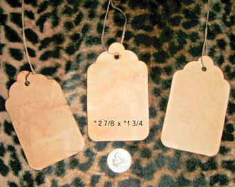 Free S/H ****  50**** medium blank Scalloped edge, Primitive,Distressed,VintageStyle,Rustic  HangTags w/ String,