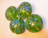 Green with Blues Handmade Lampwork Beads