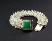 Handmade Sterling Silver Chain Cuff Bracelet Chrysoprase Statement Jewelry