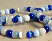 4vBlue and White Catseye Beaded Napkin Rings-SALE