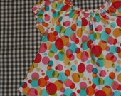 Little Girls 4t to 5t Dotty Dots Peasant Top Shirt Blouse