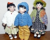 Tiny Crochet Sweater Pattern - includes Sweaters, Jackets and Caps for Little MO and Hitty Dolls - #202