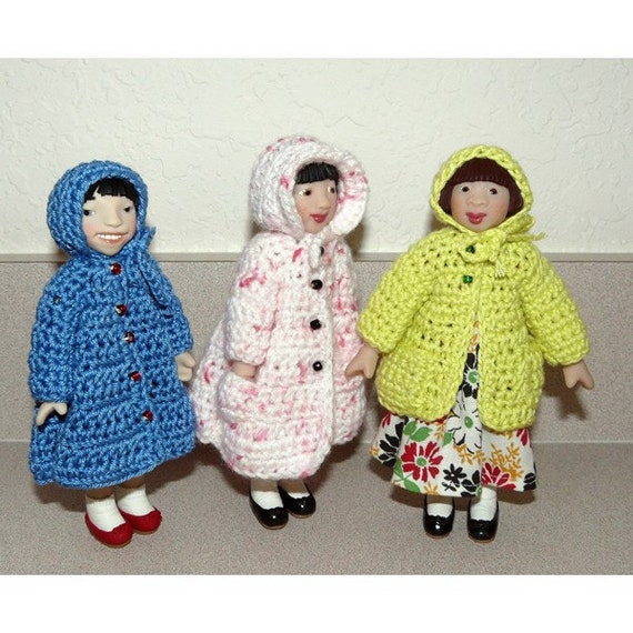 Crochet Coats and Hats for Little MO and Hitty Dolls - pattern #201