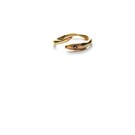 14K gold snake pinky ring