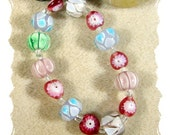 CLEARANCE- HALF OFF - Lampwork Spring Mix Bracelet  (6 inches, elastic)