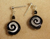Spirals in Black and Silver  (post earrings)