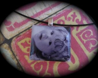 Photo Jewelry Custom Photo Pendant Necklace Close to My Heart Series Vintage Scrabble Bezel