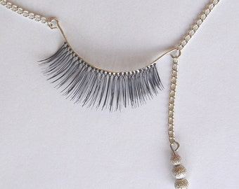 Sterling Silver Eyelash Necklace with Silver Beads