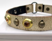 EcoCat Collar - Golden Crackled Leather with Amber Sparkles - Size XS - OOAK