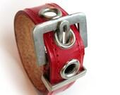 EcoCuff - Art Deco Skinny Strawberry Red Minibelt - OOAK