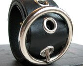 EcoCuff - Black Leather Minibelt with Circle Buckle - OOAK