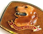 Vintage 1979 Golden Retriever Dog Buckle
