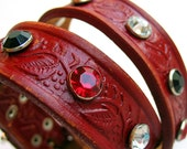 EcoDog Collar - Rustic Red Wine Leaf and Vine Tooled Leather with Sparkles - Size L - OOAK