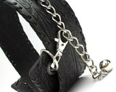 Black Leather Belt, Flower Tooled/Stamped with Silver Chain, Eco Friendly, Adjustable, Fashion, OOAK