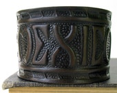 EcoCuff - Exquisite MEXICO Mountain Tooled Blackened Leather - OOAK
