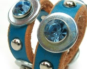 EcoDog Collar - Turquoise Raw Edge Leather with Rhinestones and Silver Studs - Size XS/S - OOAK