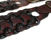 Rich Brown and Black Braided Leather Guitar Strap with Antique Brass Metal Accents, Eco-Friendly, Recycled Belts, Unisex, Unique, OOAK