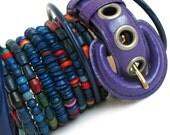 Bangle Bracelet Mix and Match Stack in Cool Blue Purple Tones, Eco Friendly, Women, Unique, OOAK