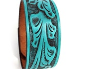 Turquoise Leather Cuff Bracelet with Classic Western Tooling, EcoFriendly, Reclaimed Leather, Unisex, Men, Women, OOAK