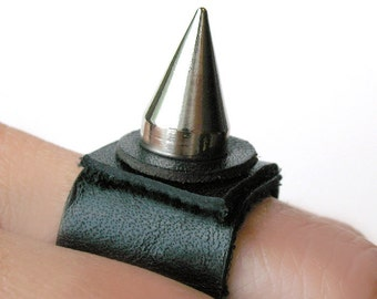 Black Leather Ring with Single Wicked Spike, Eco-Friendly Leather Ring, Made in Seattle