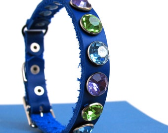 Leather Cat Collar in Royal Blue with Cool Tone Sparkles, Eco-Friendly Reclaimed Leather, Size 7-9in Neck, OOAK