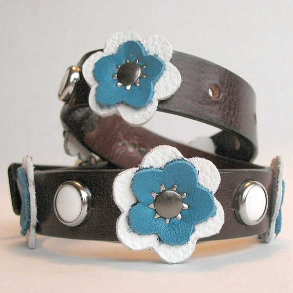 Size M - Deep Brown with Hand Cut Flowers Dog Collar