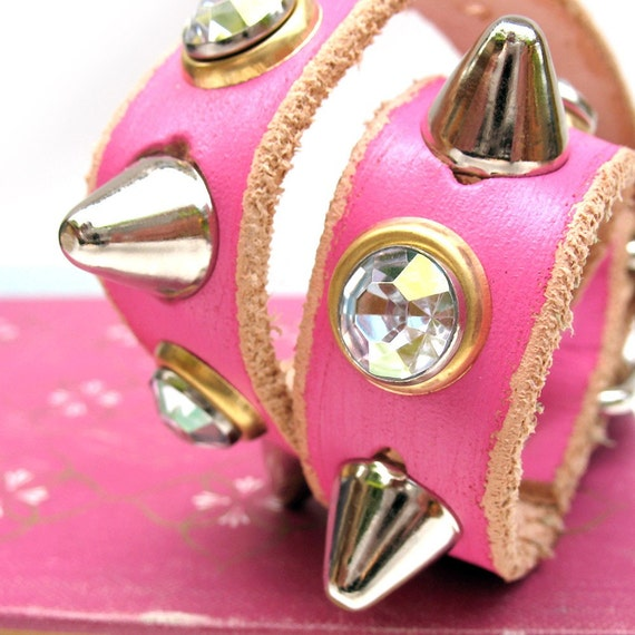 EcoDog Collar - Tough Girl Hot Pink Leather with Spikes and Sparkles - Size XS/S