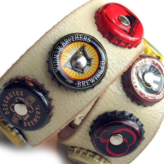 EcoDog Collar - Microbrew Bottlecaps on Rustic Khaki Leather - Size L - OOAK