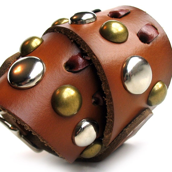Dog Collar, Silver and Gold Studded Chestnut Brown Leather with Lacing, Size S, Small Dog, 12-14 Neck, OOAK