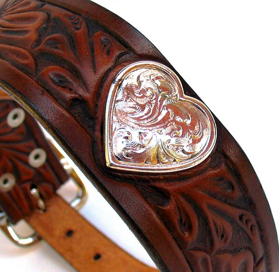 RESERVED For Megan - EcoDog Collar - Western Heart Flower Tooled Rustic Brown Leather - Size M - OOAK