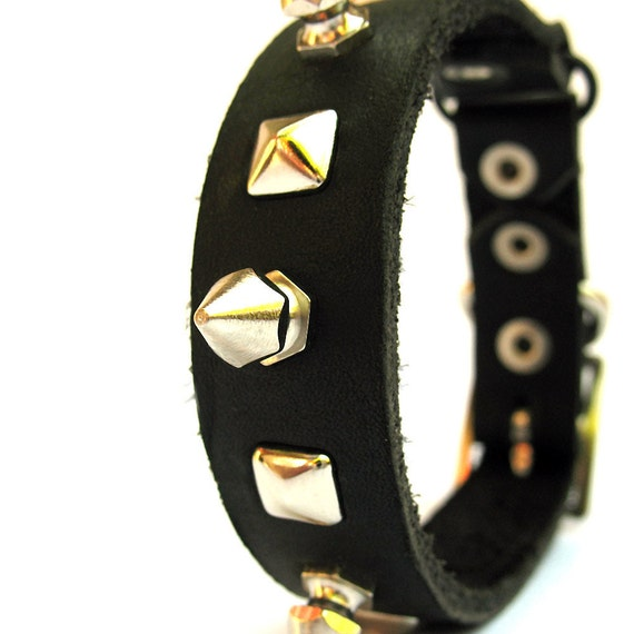 Eco Cat Collar - Bad Kitty Black Leather with Spikes and Studs  - Size XS - OOAK