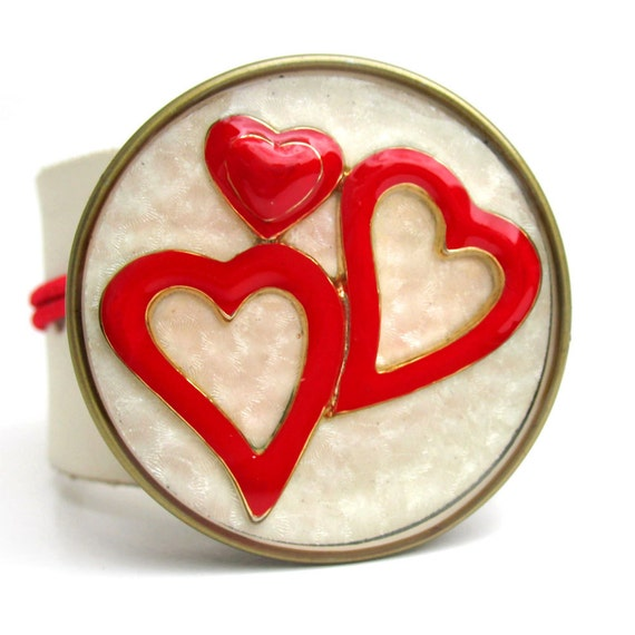 Leather Cuff Bracelet with Red Hearts in Reclaimed Bottle Cap on Winter White Band, Women, Teen Girl, Resin, Eco Friendly, Heart, Love, OOAK