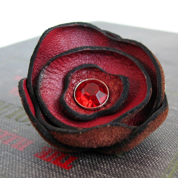 Red Wine Leather Flower Clip/Pin for Hair, Hat or Lapel, Women, Teen Girl, Brooch, Eco Friendly, Reclaimed Leather, OOAK