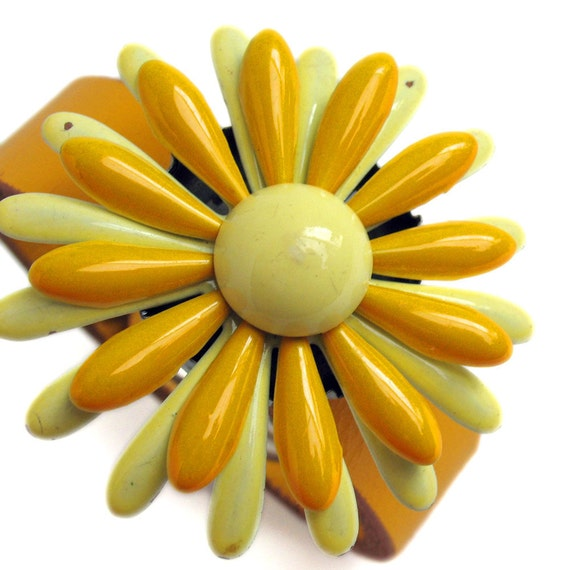 Cuff Bracelet in Sunny Yellow Leather with Vintage Flower, Eco-Friendly, Plus Size, Reclaimed, Accessories, Unique, OOAK