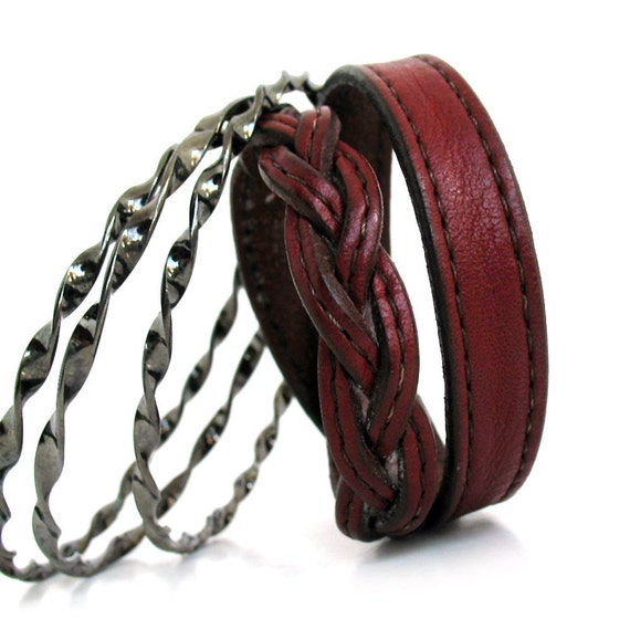 Leather and Metal Bracelet Stack, Petite, Size Small, Eco-Friendly, OOAK